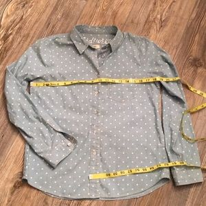 Madewell Polka Dot Chambray Button Down Denim Top